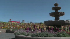 FlowerGardenFountain Stock Footage