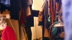 T175 walk in closet looking jacket Stock Footage