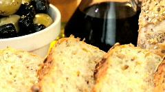Tasty Bread Appetizer Stock Footage
