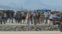 Crowds in time lapse - 13 large crowd on tarmac at USAF base Stock Footage