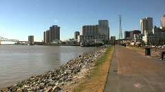 Mississippi river and Levees, New Orleans USA Stock Footage