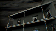 T175 haunted house scary creepy house home CG CGI Stock Footage