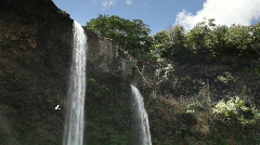 Wailua Falls, Kauai, Hawaii (tilt down) Stock Footage