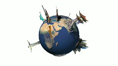 Rotate earth with Famous Place. (Alpha channel, loop) Stock Footage