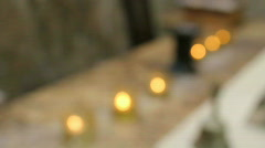 Row of Candles Coming into Focus Stock Footage