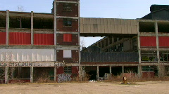 Detroit's abandoned and deteriorating Packard Auto Plant - stock footage