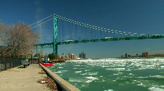 Detroit/Windsor Skyline ice flow during spring thaw Stock Footage