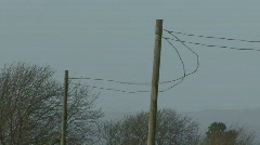 Telephone wires in gale 1 Stock Footage