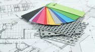 Architectural materials & blueprints Stock Footage