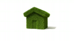 Grass covered house growing out of the ground. Stock Footage