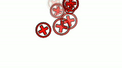 Red crosses in circles Stock Footage