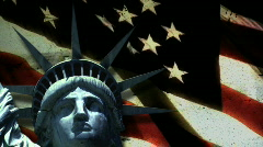 Statue of Liberty in front of US Flag - stock footage