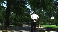 Old man in park Stock Footage