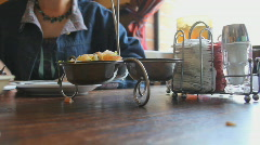 Eating Mexican - 3 - salsa variety server Stock Footage