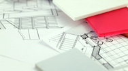 Plastics, metric folding ruler & architectural drawings Stock Footage