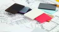Color plastics and architectural drawings Stock Footage