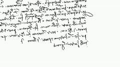 Specific handwriting of Leonardo da Vinci (mirror), right to left. - stock footage