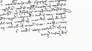 Stock Video Footage of Specific handwriting of Leonardo da Vinci (mirror), right to left.