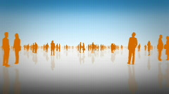 Business Man & Woman Silhouette - Blue and Orange Stock Footage