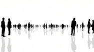 Business Man & Woman Silhouette - Black and White Stock Footage