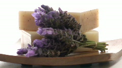 Herbal soap on wooden tray  loop - NTSC Stock Footage