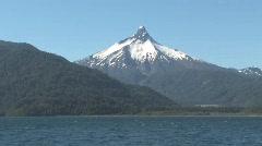 Chilean Lake Todos Los Santos viewing Volcano Puntiagudo Stock Footage