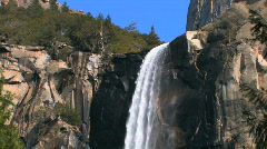 Stock Video Footage of Yosemite Waterfall Zoom Out
