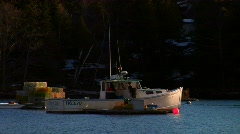 Maine Lobster Boat at Anchor - stock footage