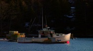 Maine Lobster Boat at Anchor Stock Footage
