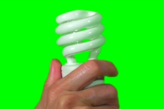 Hand with energy saving light bulb green screen V1- NTSC Stock Footage