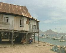 Komodo Island harbor view  Stock Footage