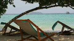 Lounge Chairs on the Beach of Koh Phi Phi Stock Footage