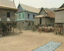 Komodo island village with children  Stock Footage