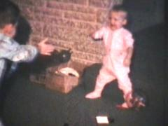 Baby Learns To Walk (1969 - Vintage 8mm film footage) Stock Footage