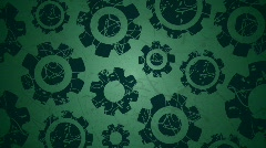 Rotating Graphic Cogs on Green Stock Footage