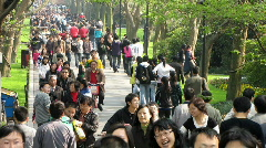 Walk in the park in China Stock Footage