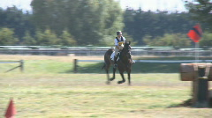 Horse and rider attempt jump Stock Footage