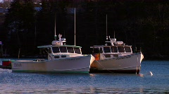 Two Maine Lobster Boats at Anchor Stock Footage