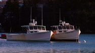 Stock Video Footage of Two Maine Lobster Boats at Anchor