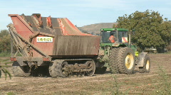 Tractor and tomato harvest bin Stock Footage