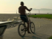 Exercising on boardwalk V2 - NTSC Stock Footage