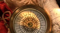 Antique compass Stock Footage