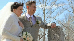 bridegroom and bride stands arm-in-arm - stock footage