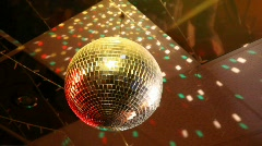 Rotating mirror disco ball in night club Stock Footage