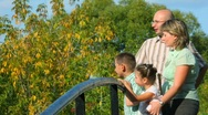 Family of four standing on bridge in park and looks away, profile Stock Footage