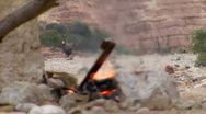 Stock Video Footage of Campsite bonfire. Bird jumping in front of fire.