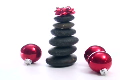 Zen rocks with holiday baubles V3 - NTSC - stock footage