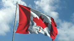 Flag of Canada - Waving Over Time Laps Sky Stock Footage