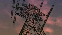 electricity pylon against the sky - stock footage