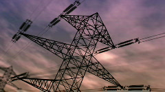 Electricity pylon at dusk Stock Footage